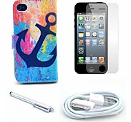 Retro Anchor Pattern PU Leather Case and Screen Protector and Stylus and Cable for iPhone 4/4S