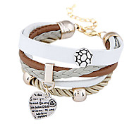 Fashion Round Plate Peach Heart Pandent Wrap Bracelet(1 Pc)