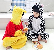 Cool Zebra Black & White Flannel Kids Kigurumi Pajama
