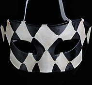 Back-to-ancient Jazz Black and White Lattice PS Half Face Halloween Party Mask