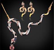 U7® Enamel Rhinestone Snake Earrings Set Choker Necklace NE216