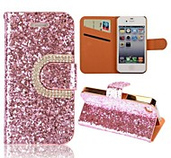 Luxury Bling Wallet Style Stand Flip Diamond+Leather Case with Card Slot for iPhone 4/4S(Assorted Colors)