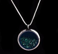 aleación redonda de cristal magnética oscura rhinestone verde medallón de estar pendiente flotante