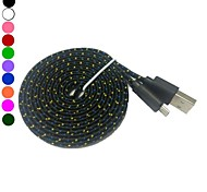 2M 6.6TF Micro USB Flat Noodle Fabric Braided Data Sync Charge Cable for Samsung Galaxy s3 s4(Assorted Color)