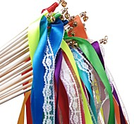 10 PCS Wedding Ribbon Wands with Lace and Bells Party Streamers
