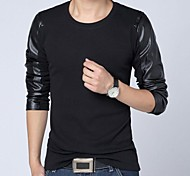 Men's Korean Style Leather Stitching Long Sleeves T-shirt