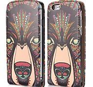 frais motif tribal de loup de style magnétique vertical étui en cuir flip pour iphone 6