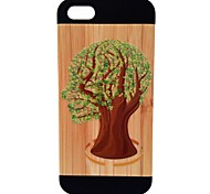 Kyuet Painted Relief Trees Natural Bamboo+PC Cell Phone Case for Iphone5/5s