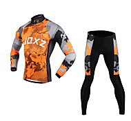 FJQXZ Men's 3D Slim Cut Continental Plates Breathable Long Sleeve Cycling Suit - Gray + Orange
