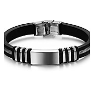 Z&X®  Man's Fashion Personality Titanium steel Silicone Silver Smooth Surface Bracelets