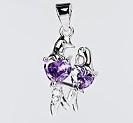 I FREE®S925 Sterling Silver Fashion Lovebirds Shape Inlaid Zircon Pendant (1 pc)