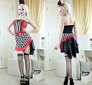 gótico mago negro, rojo y rayas blancas del spandex traje de las mujeres (sin guantes)