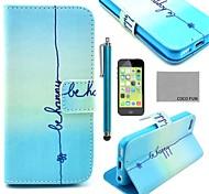 Coco Fun® patrón sonrisa linda de la PU cuero caso de cuerpo completo con protector de pantalla para 5c iphone