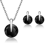 Classic Jewelry Set Vivid Black Cubic Zirconia Rhodium Plated Jewelry Sets for Women