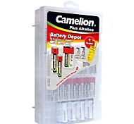 Camelion Plus Alkaline Family Pack Included 20pcs  AAA/AA/C/D/9V Batteries, 1pc Battery Tester and 8pcs Battery Adapter.