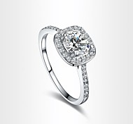 Hearts & Arrows Ideal Cut Swiss Cubic Zirconia Diamond Halo Engagement Ring