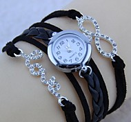 Women's Rhinestone Letter Love with 8 Round Dial Black Bracelet Watch