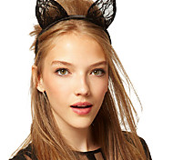 Sweet Rabbit Ear Shape Black Lace Fabric Headbands Small Size