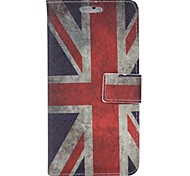 Vintage UK Flag Colored Drawing Pattern PU Leather Full Body Case with Stand and Card Slot for iPhone6