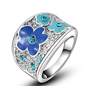 Christmas Gift Classic Genuine Austrian Crystals Rose/White Gold Plated Blue Flower Wintersweet Ring Jewelry