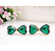 Love Is You Wen Wan Jade Exquisite Sea Green Bowknot Earrings