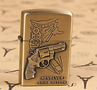 Vintage Style Bronze Gun Relief Pattern Kerosene Lighter