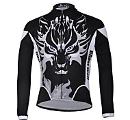 CHEJI Men 's Ghost Wolf High Quality Ultraviolet Resistant Terylene Long Sleeve Cycling Jersey—Black+White
