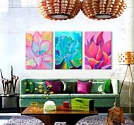 Oil painting Color Plants Clock in Canvas 3pcs