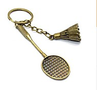 Vintage Badminton Bronze Alloy Keychain(1 Pc)