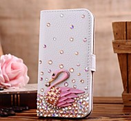 Diamond Swan PU Leather Full Body Case with Stand and Card Slot for iPhone 5C(Assorted Colors)