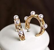 Fashion Elegant Alloy Pearl Hoop Earring for Women(Outer Diameter 2.5CM)