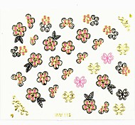 3D Nail Accessory False Nail Art Stickers Decals Gold Butterfly and Flower for Nail Tips DIY Nail Art Decorations