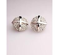 Fashion Korea White Round Imitation Diamond Clip Earrings for Women in Jewelry