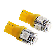 T10 1W 100LM 5×5050 SMD LED Yellow Light for Car Dashboard / Door / Trunk Lamps (DC12V  2Pcs)