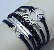 Vintage There is a way LOVE Peace 8 18cm Unisex  Leather Wrap Bracelet(1 Pc)