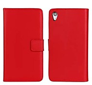 Solid Color Pattern Genuine Leather Full Body Case with Stand and Card Slot for Sony Xperia Z2 L35W