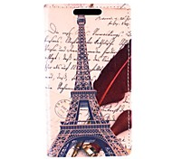Eiffel Tower Pattern PU Leather Full Body Case with Card for Sony Xperia M2 S50h