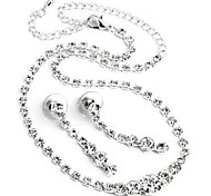 Vintage Silver Plated Half Arc-Shaped With Artificial Diamond Metal Necklace& Earrings Set (1Set)