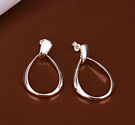 Big Belly  White Silver- Plated Hoop Earrings(White)(1Pair)