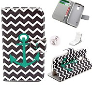 Green Wave Anchor Pattern PU Leather Case and Mini Display Stand with Diamond Dust Plug for Samsung Galaxy S5 Mini