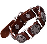 Lureme®Punk Style  Men's Pentacle Leather Bracelet