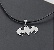 Halloween batman (batman) Black Leather Pendant Necklace(Silver) (1 Pc)