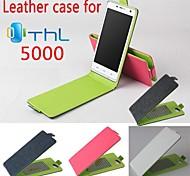 copertura di caso di vibrazione del cuoio moda colorata per THL 5000 su e giù per smartphone a 4 colori