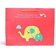 Coway 38.5*10*30 Red Green Elephant Party Paper Gift Bag Horizontal Version