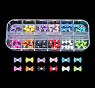 60PCS 12 Colours Little Bowknot Resin Nail Art Decoration