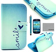 Coco Fun® patrón de corazón lindo estuche de cuero pu con protector de pantalla y el stylus para mini i8190 samsung galaxy s3