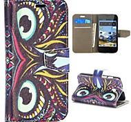 motif de hibou style tribal portefeuille de style stand de rabat magnétique pc + étui en cuir PU pour Huawei Ascend Y330