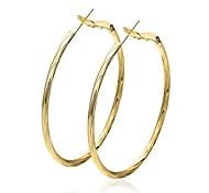 Fashion Circle Golden Gold-Plated Hoop Earrings(Golden)(1Pair)