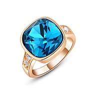 Weihnachtsgeschenk klassische echten österreichischen Kristalle 18k Rose / weißes Gold überzogen spuare blauen Stein-Ring Schmuck-Party