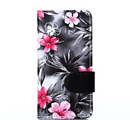 Black Floral Pattern PU Leather Full Body Cover with Card Solt Cave for iPhone 6